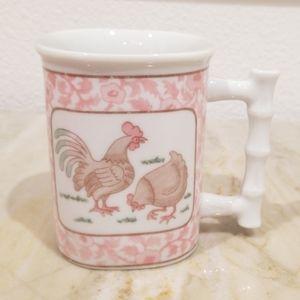 Vintage Coffee Mug rooster Paisley Pink design